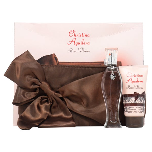 Royal Desire by Christina Aguilera for Women - 3 Pc Gift Set 1oz EDP Spray, 1.6oz Body Lotion, Evening Bag