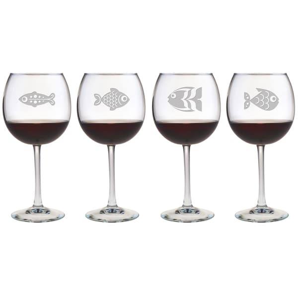 Fish 16-ounce Red Wine Glasses (Set of 4)