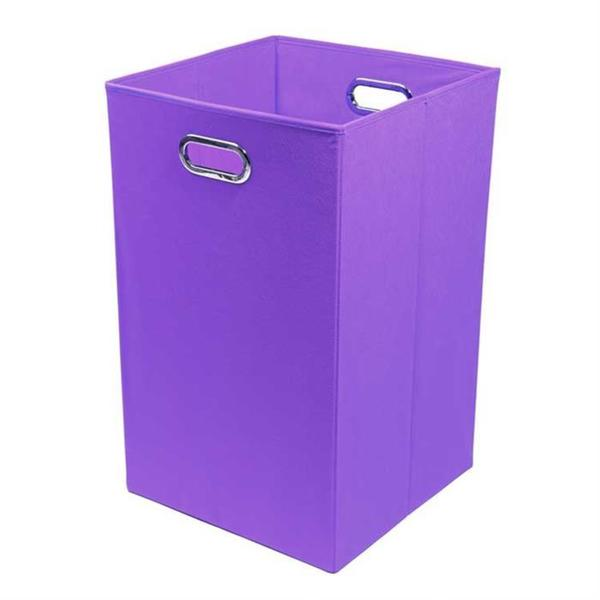 Color Pop Solid Purple Folding Laundry Basket