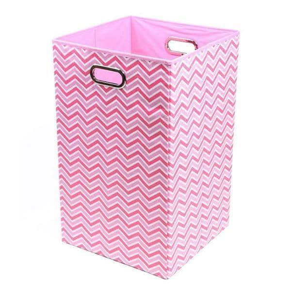 Rose Zig Zag Folding Laundry Basket