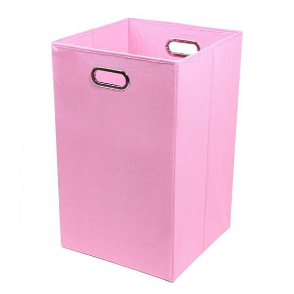 Rose Solid Pink Folding Laundry Basket