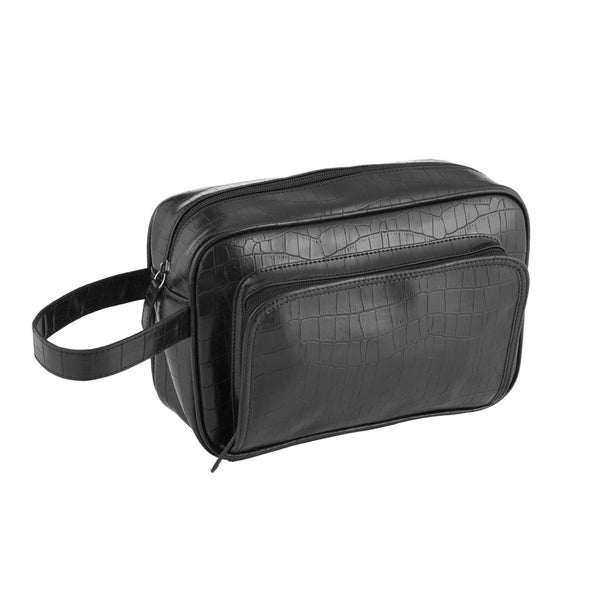 Wilouby Black Croc Leather Travel Toiletry Bag