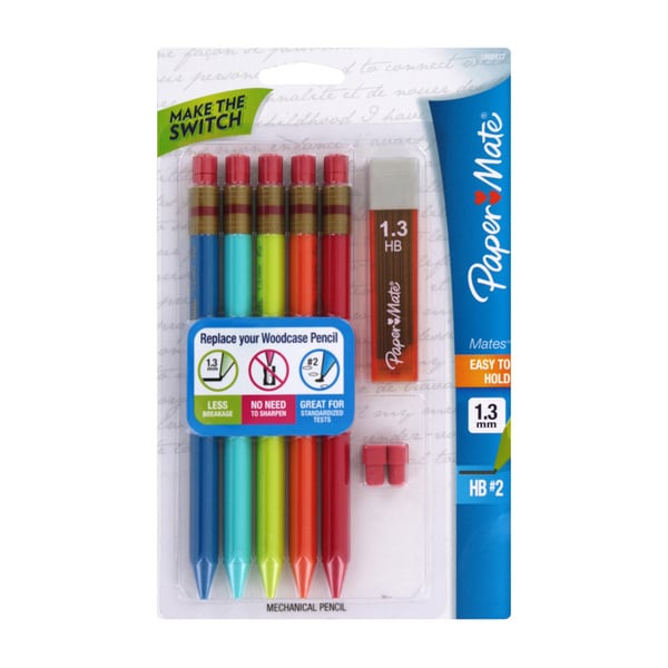 Paper Mates Triangular Mechanical Pencil 1.3mm Assorted Barrel (Pack of 5)