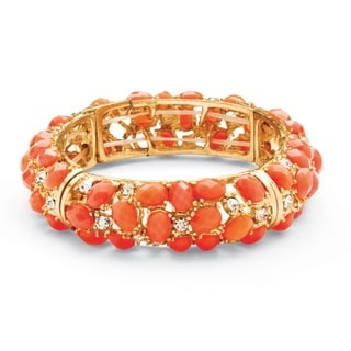 PalmBeach Coral Cabochon Crystal Bangle Bracelet Bold Fashion