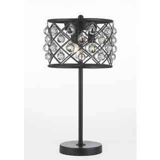 Crystal Spheres and Iron 3-light Table Lamp