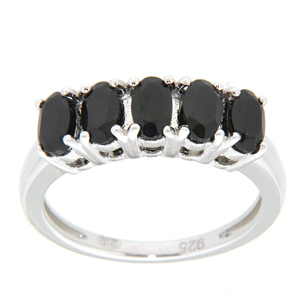 Pearlz Ocean Five Stone Black Spinel Ring