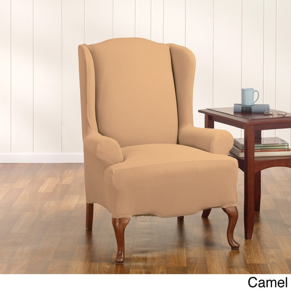 sure fit stretch honeycomb wing chair slipcover 16351356