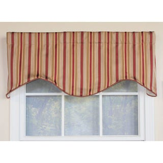Tuxedo Stripe Red Window Valance