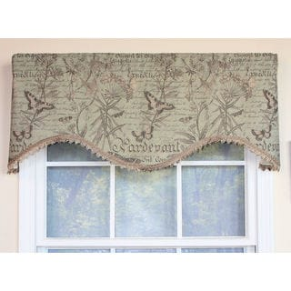 Butterfly Linen Mint Cornice Window Valance