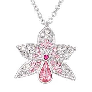 Swarovski Clear/ Rose Crystal Flower Pendant Necklace