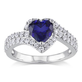 Miadora Sterling Silver Created White and Blue Sapphire Heart Ring