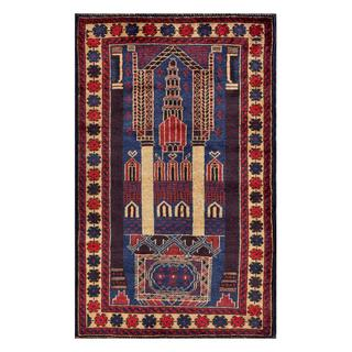 Herat Oriental Semi-antique Afghan Hand-knotted Tribal Balouchi Blue/ Red Wool Rug (2'8 x 4'4)
