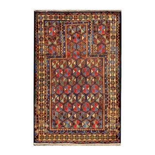 Herat Oriental Semi-antique Afghan Hand-knotted Tribal Balouchi Navy/ Gold Wool Rug (2'11 x 4'4)