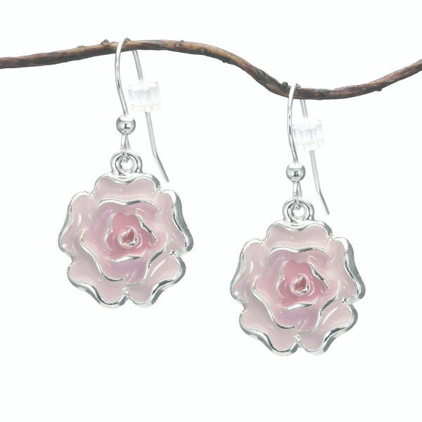 Jewelry by Dawn Pink Enamel Flower Dangle Earrings