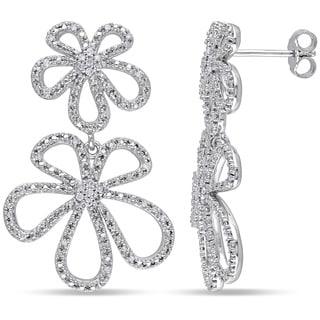Miadora Sterling Silver 1/4ct TDW Diamond Flower Earrings (H-I, I2-I3)
