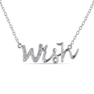 M by Miadora Sterling Silver Diamond 'Wish' Word Necklace