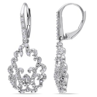 Haylee Jewels Sterling Silver 1/4ct TDW Diamond Dangle Earrings (H-I, I2-I3)