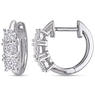Miadora 10k White Gold 1/6ct TDW Diamond Cuff Earrings (H-I, I2-I3)