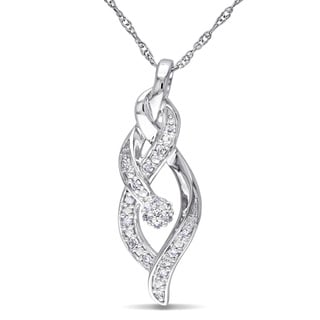 Miadora 10k White Gold 1/10ct TDW Diamond Necklace (H-I, I2-I3)