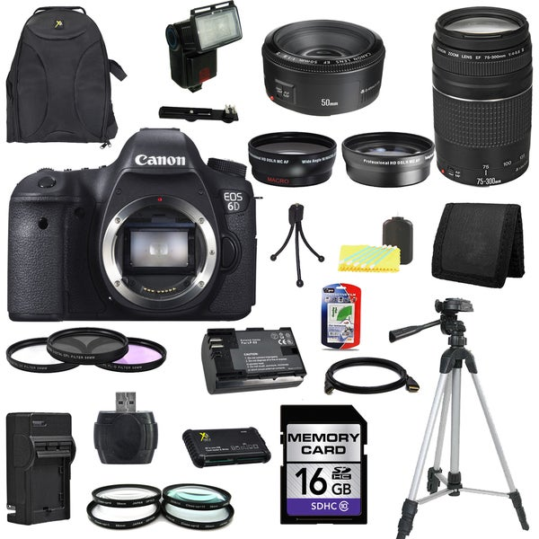 Canon EOS 6D DSLR Camera Body with EF 50mm f/1.8 II and EF 75-300mm f/4-5.6 III Lenses 16GB Bundle
