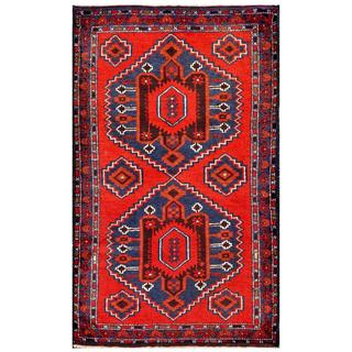 Herat Oriental Semi-antique Afghan Hand-knotted Tribal Balouchi Red/ Blue Wool Rug (2'10 x 4'10)