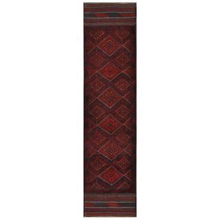 Herat Oriental Semi-antique Afghan Hand-knotted Tribal Balouchi Maroon/ Navy Wool Rug (2' x 8'6)