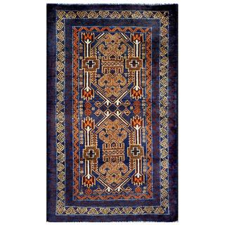 Herat Oriental Semi-antique Afghan Hand-knotted Tribal Balouchi Blue/ Beige Wool Rug (2'8 x 4'5)