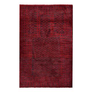 Herat Oriental Afghan Hand-knotted Semi-antique Tribal Balouchi Red/ Navy Wool Rug (2'7 x 4'2)