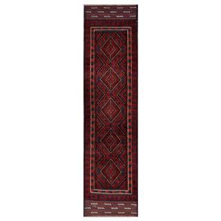 Herat Oriental Semi-antique Afghan Hand-knotted Tribal Balouchi Red/ Navy Wool Rug (1'10 x 7'11)