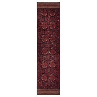 Herat Oriental Semi-antique Afghan Hand-knotted Tribal Balouchi Red/ Navy Wool Rug (2'1 x 8'5)