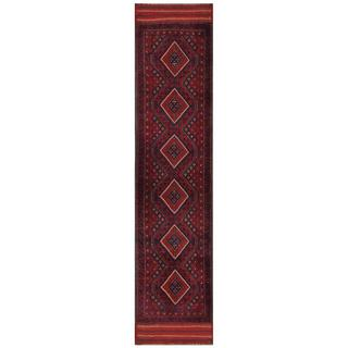 Herat Oriental Semi-antique Afghan Hand-knotted Tribal Balouchi Red/ Navy Wool Rug (1'11 x 8'10)