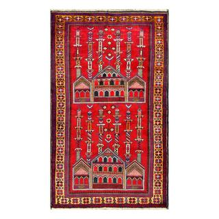 Herat Oriental Semi-antique Afghan Hand-knotted Red/ Gold Wool Rug (3' x 5')