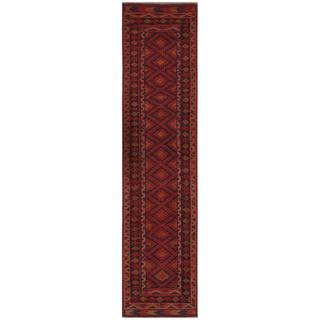 Herat Oriental Semi-antique Afghan Hand-knotted Tribal Balouchi Rust/ Navy Wool Rug (1'11 x 8'9)