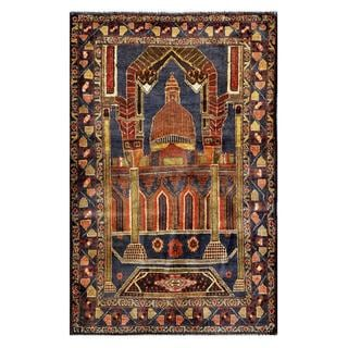 Herat Oriental Semi-antique Afghan Balouchi Hand-knotted Navy/ Rust Wool Rug (3' x 4'7)