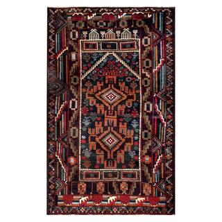 Herat Oriental Semi-antique Afghan Hand-knotted Tribal Balouchi Navy/ Brown Wool Rug (2'11 x 4'9)