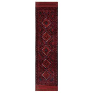 Herat Oriental Semi-antique Afghan Hand-knotted Tribal Balouchi Red/ Navy Wool Rug (2'1 x 8'10)