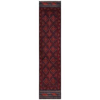 Herat Oriental Semi-antique Afghan Hand-knotted Tribal Balouchi Burgundy/ Navy Wool Rug (1'10 x 8'9)