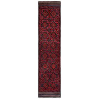 Herat Oriental Semi-antique Afghan Hand-knotted Tribal Balouchi Red/ Navy Wool Rug (1'11 x 9')