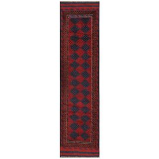 Herat Oriental Semi-antique Afghan Hand-knotted Tribal Balouchi Red/ Navy Wool Rug (2' x 8'3)