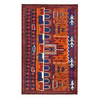 Herat Oriental Semi-antique Afghan Hand-knotted Tribal Balouchi Orange/ Blue Wool Rug (2'8 x 4'6)