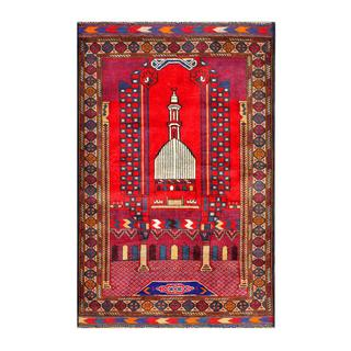 Herat Oriental Semi-antique Afghan Hand-knotted Tribal Balouchi Red/ Beige Wool Rug (2'11 x 4'5)