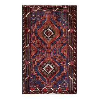 Herat Oriental Semi-antique Afghan Hand-knotted Tribal Balouchi Navy/ Brown Wool Rug (2'7 x 4'3)