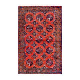 Herat Oriental Semi-antique Afghan Hand-knotted Tribal Balouchi Rust/ Blue Wool Rug (2'8 x 4'4)