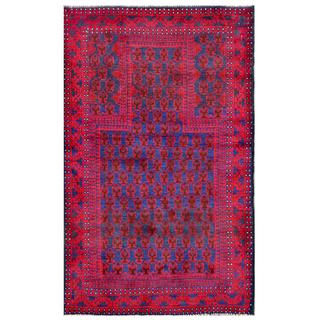 Herat Oriental Semi-antique Afghan Hand-knotted Tribal Balouchi Blue/ Red Wool Rug (2'10 x 4'9)
