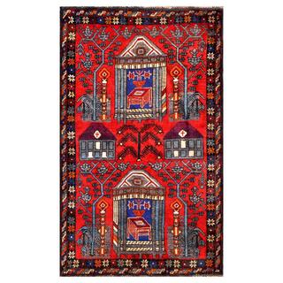 Herat Oriental Semi-antique Afghan Hand-knotted Tribal Balouchi Red/ Blue Wool Rug (2'10 x 4'8)