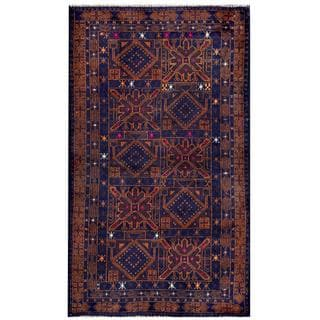 Herat Oriental Semi-antique Afghan Hand-knotted Tribal Balouchi Blue/ Brown Wool Rug (2'10 x 4'10)