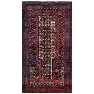 Herat Oriental Semi-antique Afghan Hand-knotted Tribal Balouchi Purple/ Beige Wool Rug (2'8 x 4'6)