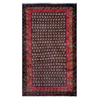 Herat Oriental Semi-antique Afghan Hand-knotted Tribal Balouchi Brown/ Ivory Wool Rug (2'9 x 4'8)