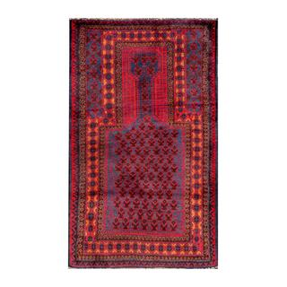 Herat Oriental Semi-antique Afghan Hand-knotted Tribal Balouchi Blue/ Red Wool Rug (2'5 x 4'4)