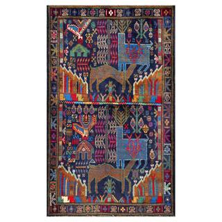 Herat Oriental Semi-antique Afghan Hand-knotted Tribal Balouchi Blue/ Red Wool Rug (2'11 x 4'10)